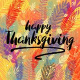 Happy Thanksgiving Day congratulation on multicolor trendy autumn background with autumn leaves. Great design element. For congratulation cards, banners, poster Royalty Free Illustration