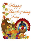 Happy Thanksgiving Day Cornucopia Turkey Illustrat. Happy Thanksgiving Day Fall Harvest Cornucopia and Pilgrim Turkey with Pumpkin Eggplant Grapes Corns Apples Royalty Free Stock Image