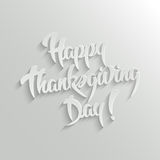Happy Thanksgiving Day 3d Calligraphic Text with Shadow Stock Photo