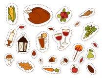 Happy thanksgiving day design holiday objects fresh food harvest autumn season vector illustration Royalty Free Stock Photos