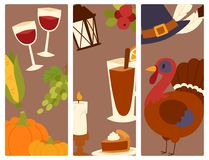 Happy thanksgiving day design holiday objects fresh food harvest autumn season vector illustration Stock Photo