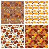 Happy thanksgiving day design holiday seamless pattern background fresh food harvest autumn season vector illustration Royalty Free Stock Images