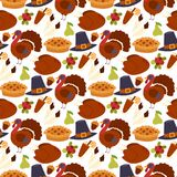 Happy thanksgiving day design holiday seamless pattern background fresh food harvest autumn season vector illustration Royalty Free Stock Photo
