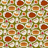 Happy thanksgiving day design holiday seamless pattern background fresh food harvest autumn season vector illustration Stock Image