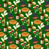 Happy thanksgiving day design holiday seamless pattern background fresh food harvest autumn season vector illustration Stock Image