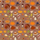 Happy thanksgiving day design holiday seamless pattern background fresh food harvest autumn season vector illustration Royalty Free Stock Photos