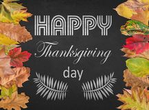 Happy Thanksgiving day design postcard with autumn leaves Royalty Free Stock Images