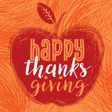 Happy Thanksgiving Day. Drawing design style Happy Thanksgiving Day logotype, badge and icon. Happy Thanksgiving Day logo template. Thanksgiving Day card Stock Photography