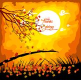 Happy Thanksgiving Day. Fall under the moonlight Stock Photo