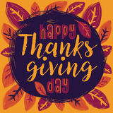 Happy Thanksgiving Day. Flat design style Happy Thanksgiving Day logotype. Happy Thanksgiving Day logo template. Thanksgiving Day card template. Happy Royalty Free Stock Photo