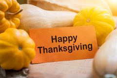 Happy Thanksgiving day. With fruit and vegetable on wood in autumn and Fall harvest cornucopia season royalty free stock photo
