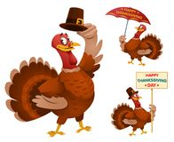 Happy Thanksgiving Day with funny cartoon turkeys. stock illustration
