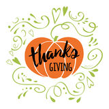Happy Thanksgiving Day, give thanks, autumn hand drawn design decorated green romantic ornament Royalty Free Stock Photo