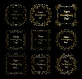 Happy thanksgiving day - golden vector frames on black. Happy thanksgiving day - golden decorative vector frames on black background Stock Images