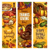 Thanksgiving day sketch vector greeting banners. Happy Thanksgiving Day greeting banners. Vector sketch design of roasted turkey and fruit pie or bread, pumpkin Stock Photo