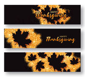 Happy Thanksgiving Day greeting card  with origami beautiful autumn black maple leaves Stock Photography