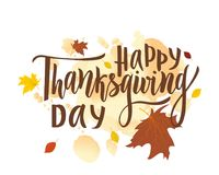 Happy thanksgiving day greeting lettering phrase. Modern calligraphy royalty free illustration
