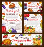 Thanksgiving day sketch vector banner or posters. Happy Thanksgiving Day greeting posters and banners of roasted turkey and pie or bread, pumpkin or corn and Royalty Free Stock Photo