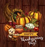 Thanksgiving day sketch vector cornucopia poster. Happy Thanksgiving Day greeting posters and banners of roasted turkey and pie or bread, pumpkin or corn and Royalty Free Stock Photo