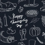 Happy Thanksgiving Day. Hand Drawn Holiday Design seamless pattern Royalty Free Stock Photography