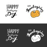 Happy thanksgiving Day. Hand drawn tee graphic. Typographic print poster Royalty Free Stock Image