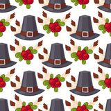 Happy thanksgiving day hats design holiday seamless pattern background harvest autumn season vector illustration Stock Photography
