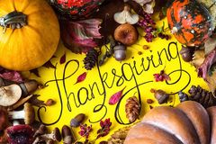 Happy Thanksgiving Day holiday background postcard concept cornucopia full harvest fruit vegetable Hand drawn greeting card autumn Royalty Free Stock Photos