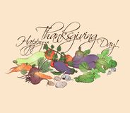Happy Thanksgiving Day horizontal poster with different vegetables.   Stock Images