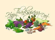 Happy Thanksgiving Day horizontal poster with different vegetables. Superfood illustration, hand drawn sketch Stock Image