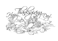 Happy Thanksgiving Day horizontal poster with different vegetables. Superfood illustration, hand drawn sketch Royalty Free Stock Images