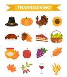Happy Thanksgiving Day icon set, flat, cartoon style. Harvest festival collection design elements with turkey, pumpkin Royalty Free Stock Images