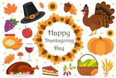 Happy Thanksgiving Day icon set, flat, cartoon style. Harvest festival collection design elements with turkey, pumpkin Stock Image