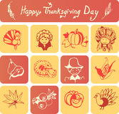Happy Thanksgiving Day icons Stock Photo