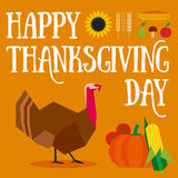 Happy thanksgiving day. Illustration in brown and orange colors Royalty Free Stock Image