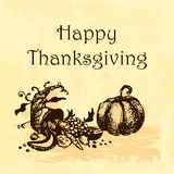 Happy Thanksgiving Day illustration. Doodle hand drawn pumpkin and cornucopia, yellow watercolor background. vector illustration