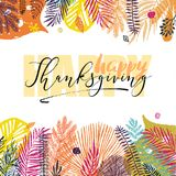 Happy Thanksgiving Day inscription on autumn background with autumn leaves. Great design element for congratulation Royalty Free Stock Images