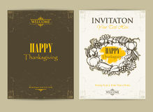 Happy Thanksgiving Day. Invitation cards Royalty Free Stock Image