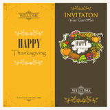 Happy Thanksgiving Day. Invitation cards Royalty Free Stock Photos