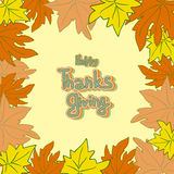 Happy Thanksgiving day leaves frame. stock photo