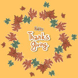 Happy Thanksgiving day leaves frame. royalty free stock image