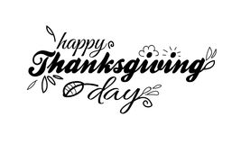 Happy Thanksgiving Day Lettering Template On White Background With Doodle Elements Royalty Free Stock Images