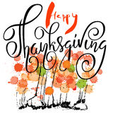 Happy Thanksgiving Day lettering. Vector illustration. Watercolor colorful drops. Autumn background. EPS 10 Royalty Free Stock Photos