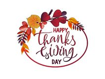 Happy Thanksgiving day Lettering with wreath of autumn leaves royalty free stock photos