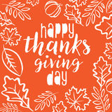 Happy Thanksgiving Day. Logotype with autumn leaves. Happy Thanksgiving banner, flyer. Vector illustration Royalty Free Stock Image
