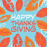 Happy Thanksgiving Day. Logotype with autumn leaves. Happy Thanksgiving banner, flyer. Vector illustration Royalty Free Stock Photography