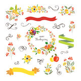 Happy Thanksgiving Day logotype, badge and icon set Stock Image