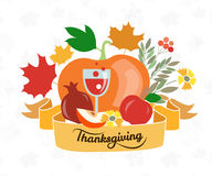 Happy Thanksgiving Day logotype, badge and icon set Royalty Free Stock Photo
