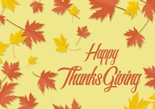 Happy ThanksGiving Day maple leaf autumn leaves Stock Photos