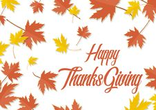 Happy ThanksGiving Day maple leaf autumn leaves Stock Photo