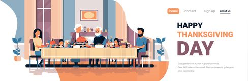Happy thanksgiving day multi generation family sitting table celebrating thanks day holiday traditional dinner concept vector illustration